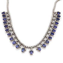 Estate 41 Carats Tanzanite & Diamond 18k White Gold Dangle Necklace