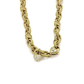 18k Yellow Gold & Diamond Oval Cable Textured Chain Link Necklace