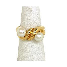 Bvlgari Bulgari Akoya Pearls & 18k Yellow Gold Twist Design Ring Size 6