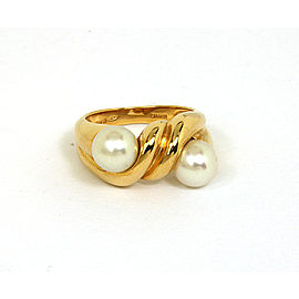 Bulgari Bulgari Akoya Pearls & 18k Yellow Gold Twist Design Ring Size 6