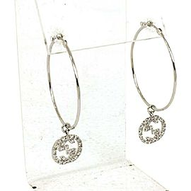 01133 Gucci Diamond 18k White Gold Large G Logo Hoop Dangle Earrings