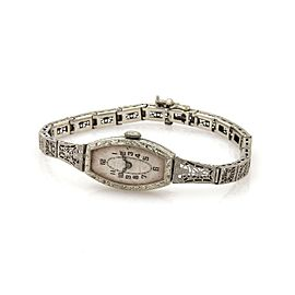 Art Deco 14k White Gold Hand Wind Ladies Wrist Watch