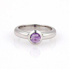 Tiffany & Co. France 18K White Gold Bullet Shape Amethyst Solitaire Ring Size 8.25