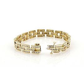 Estate 14K Yellow Gold Channel Set 8 Carat Diamond Panther Style Link Bracelet