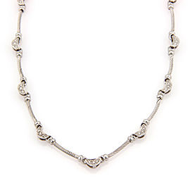 Philippe Charriol 18K White Gold Diamond Moon and Cable Link Designer Necklace