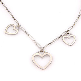 Tiffany & Co. 18K White Gold Triple Sentimental Heart Pendant Necklace