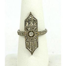 Art Deco Rose Cut Diamond Platinum Long Milgrain Design Ring Size 8