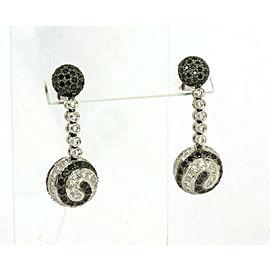 4.21ct Black & White Diamond 18k White Gold Swirl Design Drop Dangle Earrings