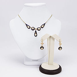 Victorian 14K Yellow Gold Seed Pearl and Enamel Necklace & Earring Set