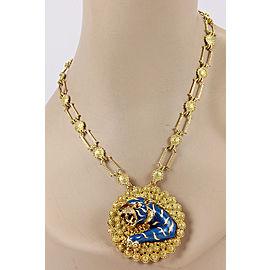 Estate 18K Yellow Gold Italian Large Ruby & Enamel Tiger Pendant Necklace