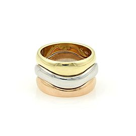 Cartier 18k Tricolor Gold Triple Wave Design Stack Band Ring Size 47-US 4
