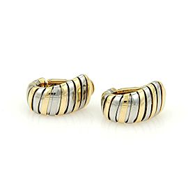 Bulgari Bulgari 18k Yellow Gold & Steel Tubogas Wide Huggie Earrings Italy