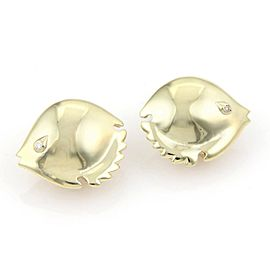 Pretty 14kt Yellow Gold & Diamond Puffer Fish Stud Earrings