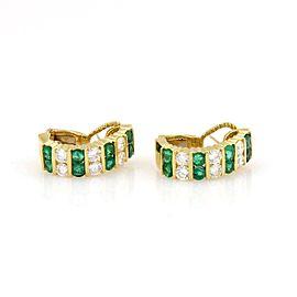 Magnificent 18kt Yellow Gold 5.40tcw Diamond & Emerald Semi Hoop Earrings