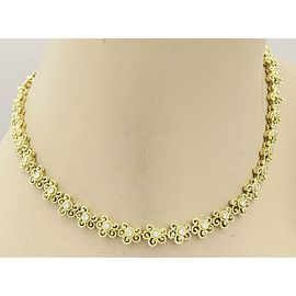 Beautiful 18kt Yellow Gold & Diamond Floral Etruscan Design Necklace