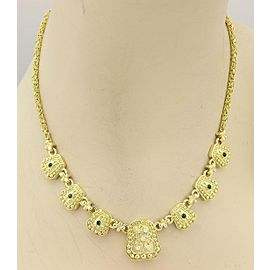 Estate 18k Yellow Gold Diamond & Cabochon Emerald Geometric Shape Necklace