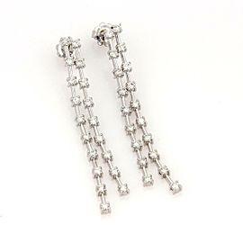 2.00 Carat 14k White Gold Double Strand Drop Dangle Earrings