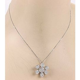 Estate 18K White Gold 1.60ctw Pave Diamond Flower Pendant Necklace