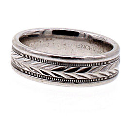 14k White Gold Banchmark Band Ring 7.2 Grams Size 7