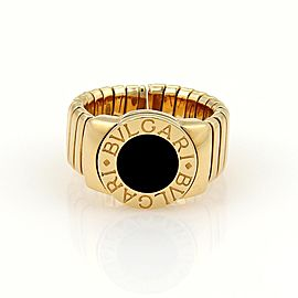 Bvlgari Bulgari Tubogas 18K Yellow Gold & Onyx 9mm Wide Band Ring Size 6.5