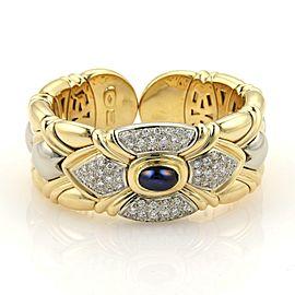 Estate 5.80ct Diamonds & Sapphire 18k Two Tone Hearts 28mm Cuff Bracelet