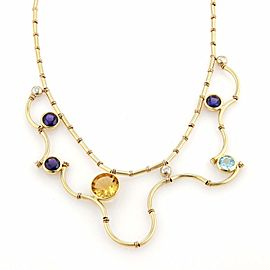 Manfred Signed Diamond Multi-Color Gems 18k Yellow Gold Drape Necklace