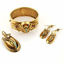 Victorian Era 18k YGold Pearls & Turquoise Bracelet Earrings & Brooch Set w/Box