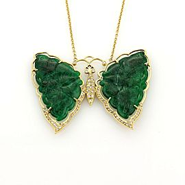Vintage Diamonds & Jade Large Butterfly 18k Gold Pendant & Chain Necklace