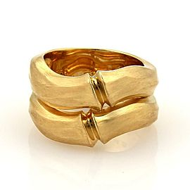 Cartier Double Bamboo 18k Yellow Gold Stack Bands Ring Size EU 51 - US 6
