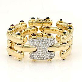 Estate 9.95ct Diamonds Sapphire & Pink Tourmaline Bar Link Bracelet in 18k Yellow Gold