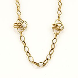 Retro 14k Yellow Gold Interlaced Station Long Fancy Link Necklace