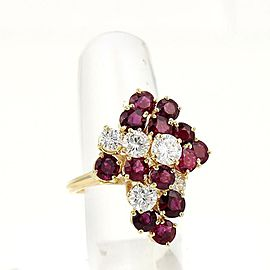 High Quality Estate 5.50ct Diamonds & Rubies Cluster Ring In 18k Yellow Gold