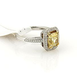 Radiant Cut 1.75ct Fancy Intense Yellow Diamond 18k Solitaire Ring w/GIA Cert