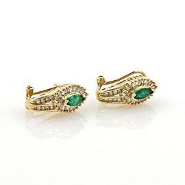 Estate Diamonds & Emerald 14k Yellow Gold Post Clip Earrings