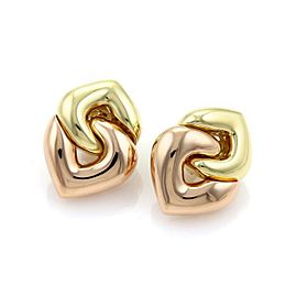 Bulgari Bulgari 18k Rose & Yellow Gold Double Hearts Post Clip Earrings