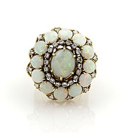 Estate 14.40ct Diamonds & Opal Large Dome 18k Yellow Gold Cocktail Ring Size 9.25