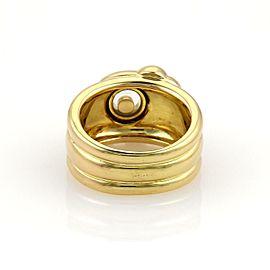 Chopard Happy Diamond 18k Yellow Gold Elephant Ribbed Band Ring Size 6.5