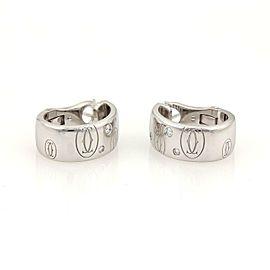 Cartier Happy Birthday Diamond 18k White Gold Oval Hoop Earrings