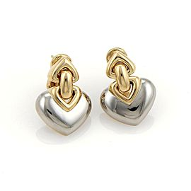 Bulgari Bulgari 18k Yellow Gold & SSteel Double Hearts Post Clip Drop Earrings