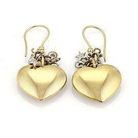 18k Two Tone Gold Moon & Stars Heart Dangle Earrings