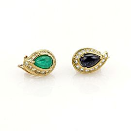 David Webb 3.90ct Emerald Sapphire & Diamond 18k YGold Post Clip Earrings