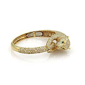 Estate 14.3ct Diamond Emerald 14k Yellow Gold Large Panther Bangle Bracelet