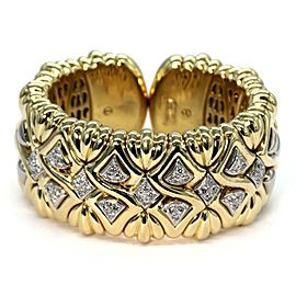 Estate 1.80ct Diamond Large 18k Gold Wide Fancy Design Cuff Bracelet