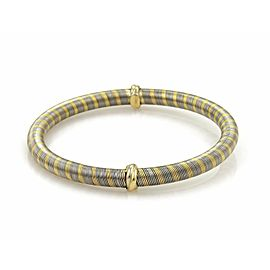 Cartier Vintage 18k Yellow Gold & Steel Wire Wrap Mini Triple Ring Bangle