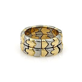 Bulgari Bulgari PARENTESI 18k Yellow Gold & Steel Double Stack Flex Band Ring Size 7