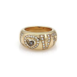 Chopard Happy Diamond 18k Yellow Gold Love Heart Dome Ring Size 6.5