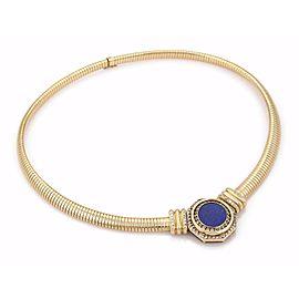 French Estate 1ct Diamond Lapis Octagon Pendant 18k Yellow Gold Omega Necklace