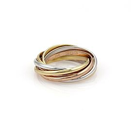 Cartier Trinity 18k Tricolor Gold 1.5mm 7 Rolling Band Ring Size EU 48-US 4