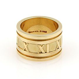 Tiffany & Co. ATLAS Roman Numeral 18K Gold 12mm Wide Band Ring Size 5