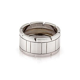 Cartier Tank Francaise 18k White Gold 11mm Band Ring Size 8.5